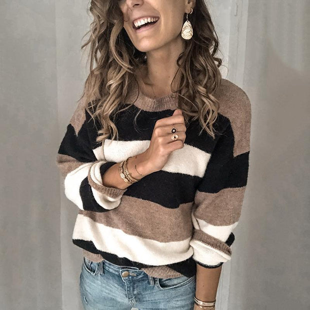Fashion Round Collar Striped Knitted Sweater