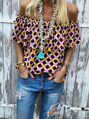 Off-the-shoulder Polka-dot Printed T-shirt