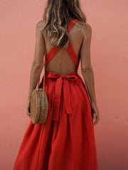 Popular Red Sleeveless Midi Dress