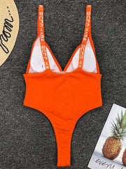 Split-joint Letter Printed One-piece Swimsuit