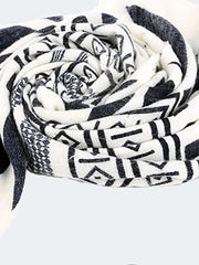Pretty Black and White Geomertry Cape Scarf