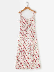 Printed Condole Belt Bandage Split-side V-neck Maxi Dress