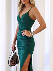 Sexy Split-side Spaghetti-neck Maxi Dresses