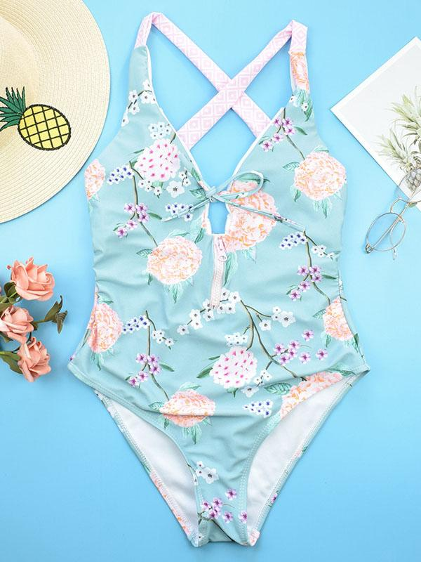 Flower Printed Bow-embellished One-piece Swimsuit