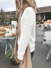 Long Sleeves White Knitting Sweater Tops