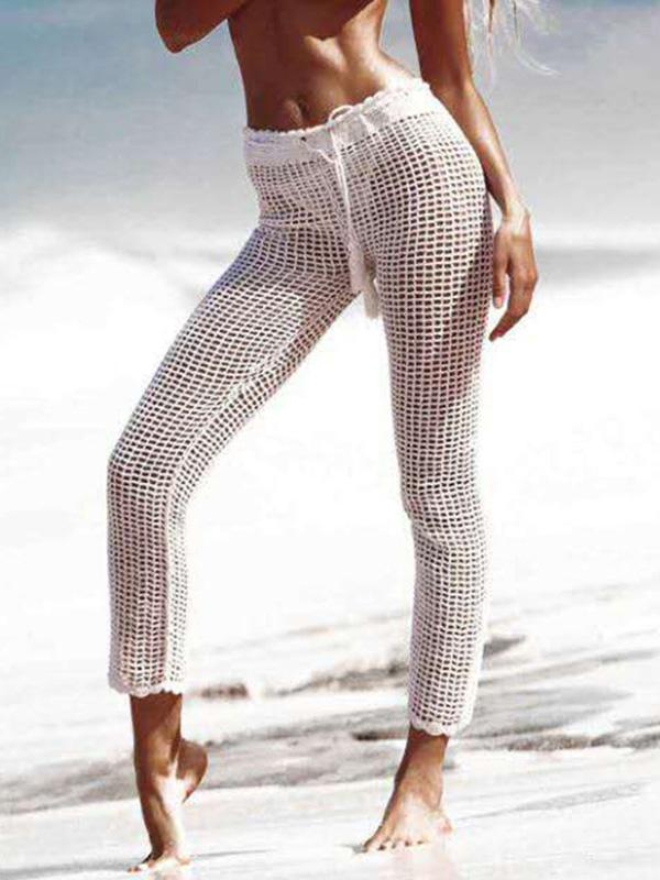 Hollow Knitting Beach Casual Pants