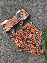 Random Calico Print Knot Front Top With High Waist Bikini Set