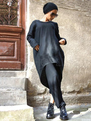 Black False-two High-low Long Shirt