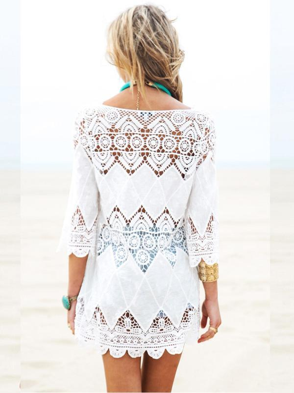 White Hollow Crochetgo Bikini Cover-Ups