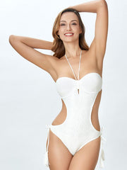 Plain Lace-up Halterneck One-piece Swimsuit