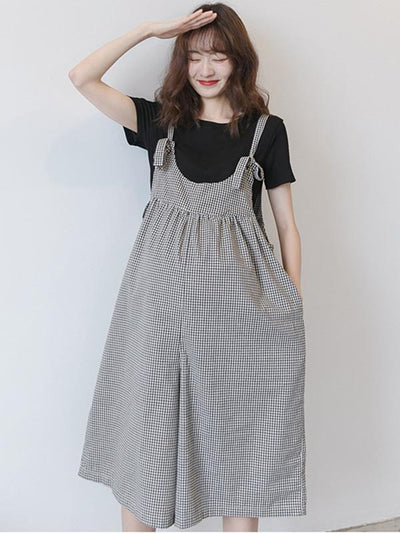 Maternity Plaid Wide Leg Spaghetti-neck Jumpsuits