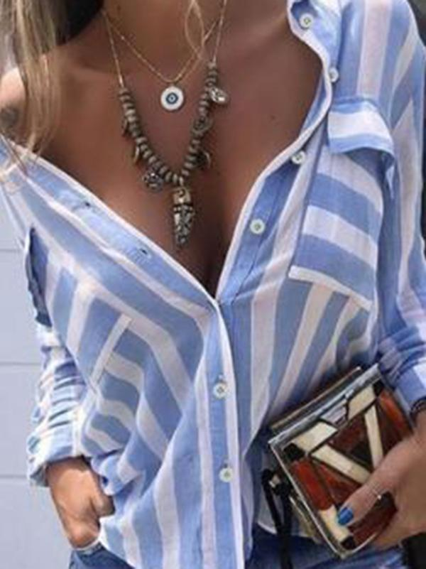 Striped Shirt Blouses&Shirts Tops