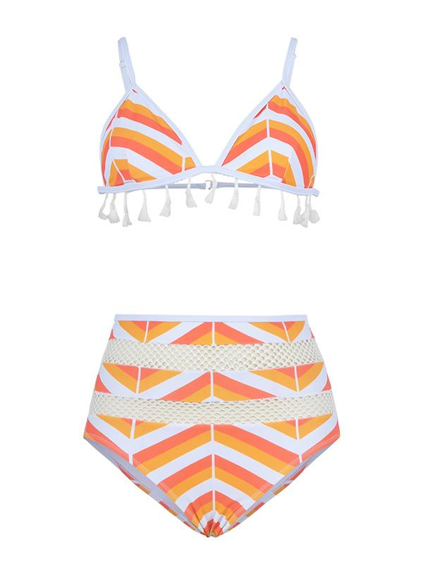 Hollow Striped High Waisted Bikini Swimsuit