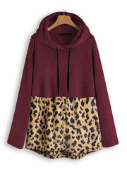 Women's Fashion Leopard-print Double-Faced Fleece Stitching Sweatshirt