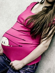 Maternity Printed Round-neck Short Sleeve T-shirt