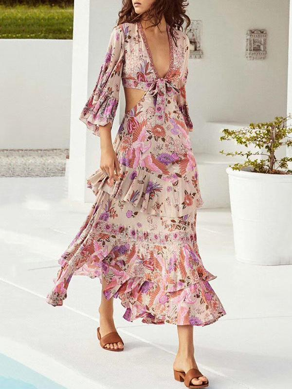 Sexy V-neck Mandarin Sleeve Floral Printed Maxi Dress