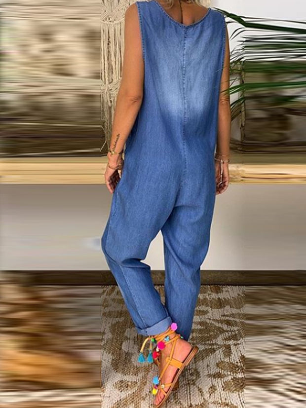 Light Blue Pockets Casual U-Neck One-Pieces