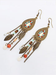 India Tassels Leaf  Earrings