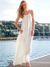 Solid Spaghetti-neck Maxi Dresses