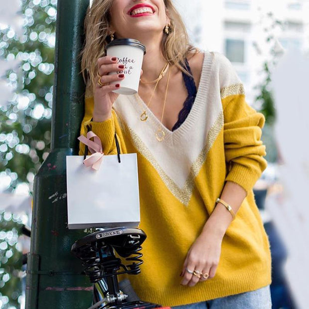 Sexy deep V-neck colorblock sweater