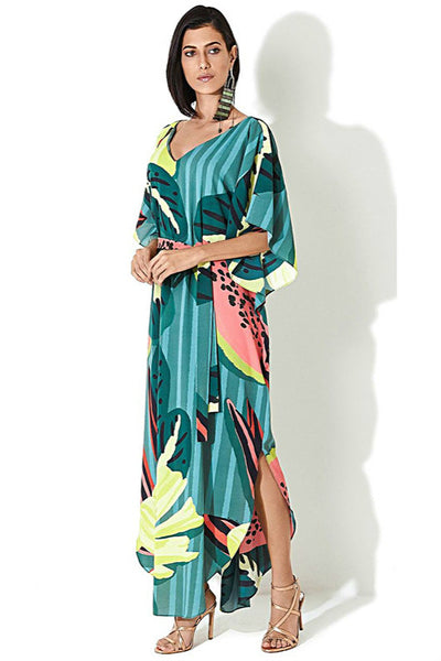 Floral V-Neck Batwing Sleeve Beachwear Cover Ups