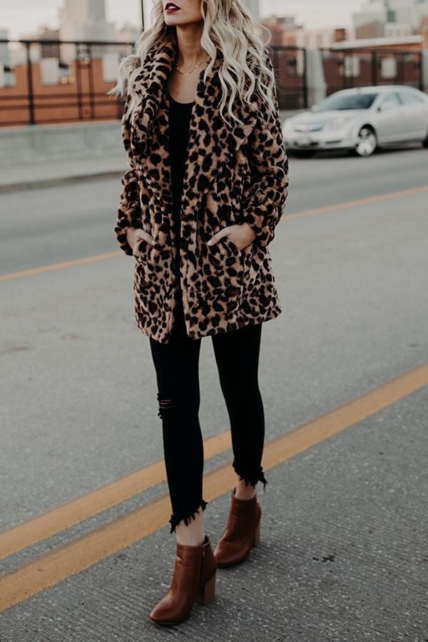 Fold Over Collar Slit Pocket Leopard Printed Coats