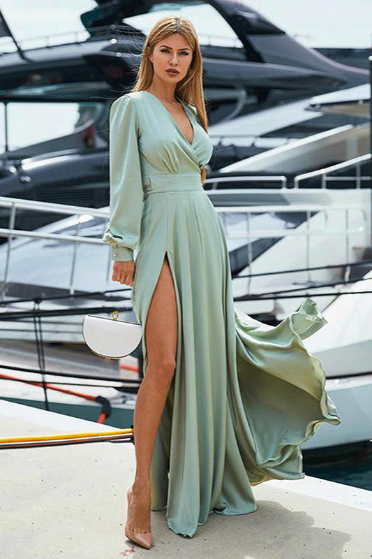 Deep V-neck Side Split Solid Maxi Dresses