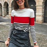 Asymmetric Neck  Striped Sweaters