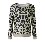 Round Neck Leopard Printed Long Sleeve Sweatershirt