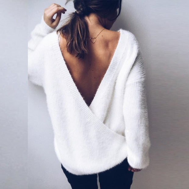 Deep V Neck Plain Sweaters