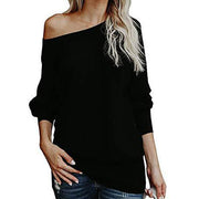 Solid Off-Shoulder Loose Cut Pullover Sweater
