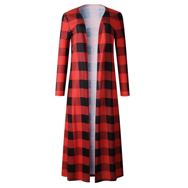 Band Collar Snap Front Gingham Cardigans