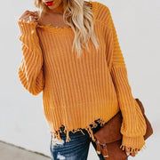 One Shoulder Asymmetric Hem Plain Sweaters