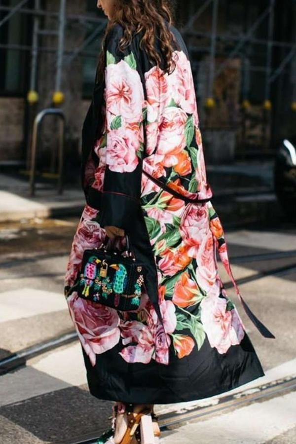 Elegant Floral Pattern Printed Long Sleeve Coat
