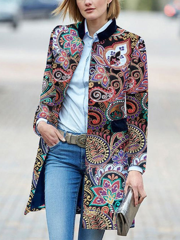 Band Collar  Print Outerwear