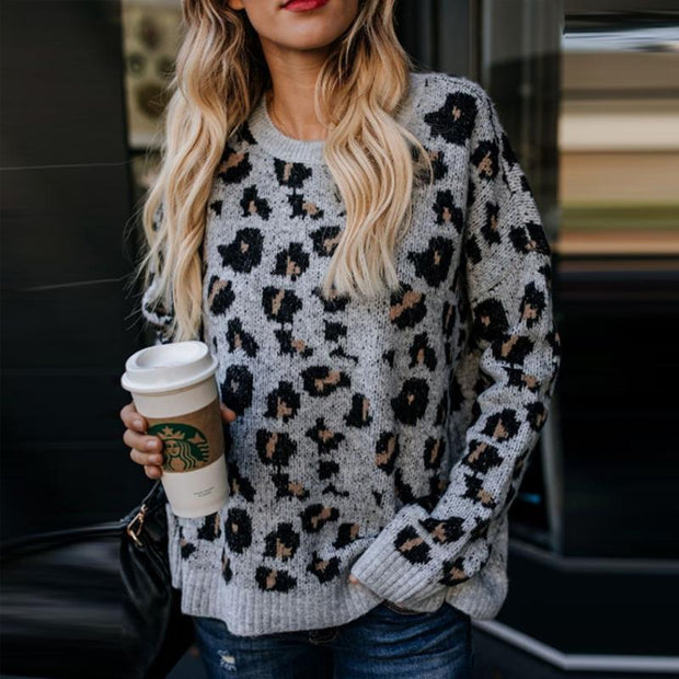 Round Neck Leopard Sweaters