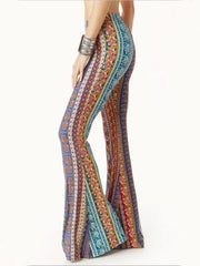 Bohemia Rose Printed Bell-bottoms Casual Pants