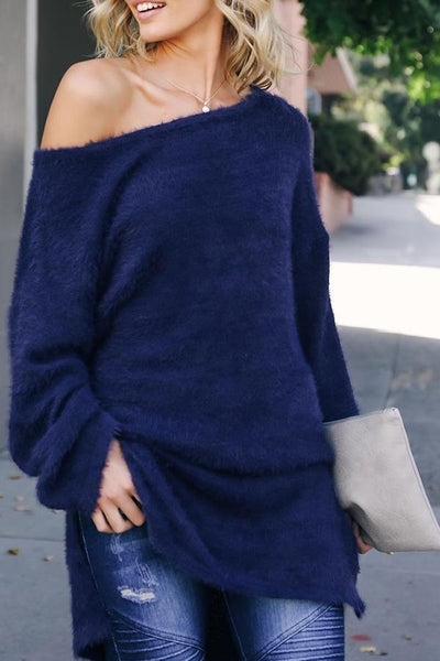 Casual Pure Colour Sloping Shoulder Knitted Sweater