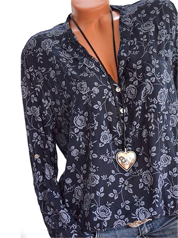 V-neck Printed Blouses