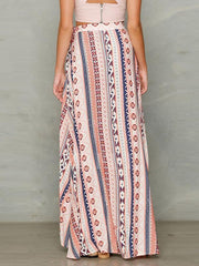 Pretty Bohemia Stripe Front Split Long Skirt Bottoms