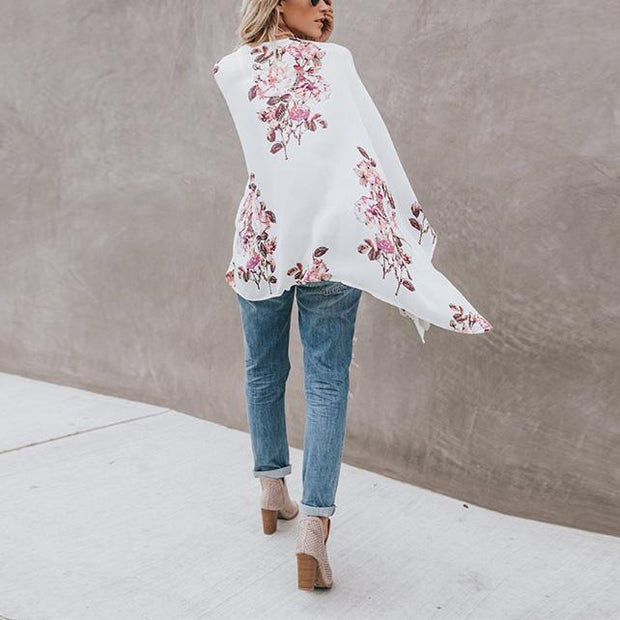 Fashion Print Flare Sleeve Vacation Cardigan