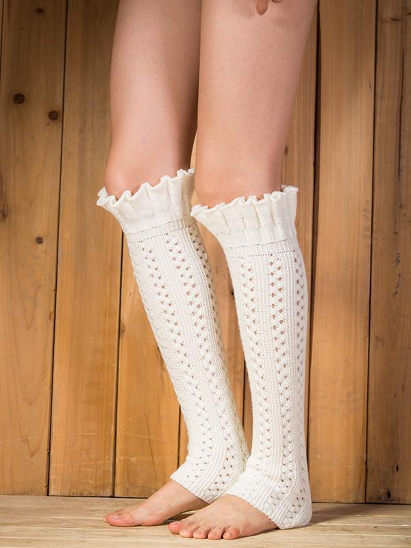 Knitting Lotus Pattern Knee-high Leg Warmer Thermal Stocking