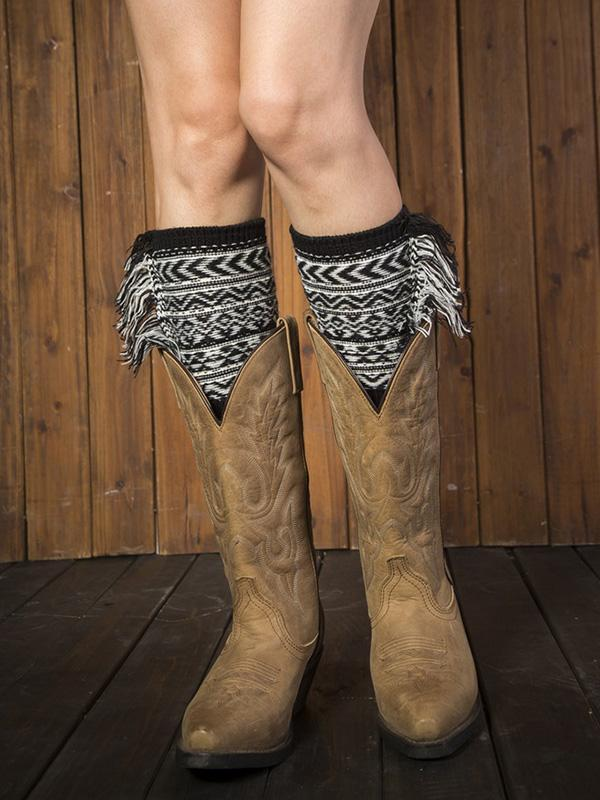 Fahion Printed Tassels Knitting Leg&Ankle Warmers