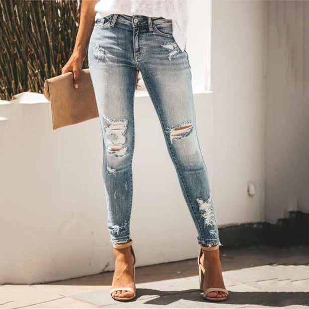 Sexy Slim And Slim Hole Mid-Rise Denim Trousers