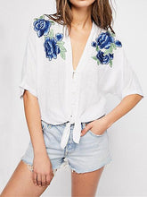 Blue Applique Single Breasted Blouses&Shirts Tops