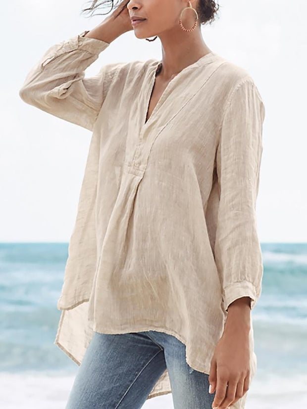 Women's Casual New Fashion V-Neck Linen Long Sleeve Top