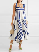 Striped Block Color Loose High Waist Midi Dress