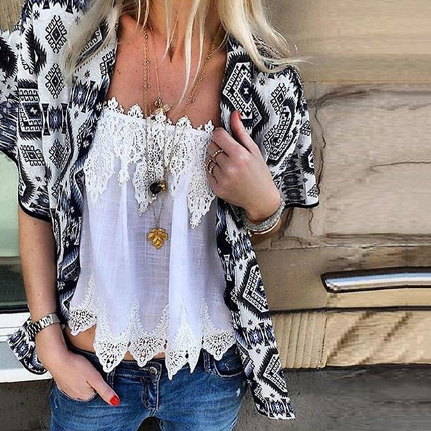 Bohemian Printed Short Sleeve Cardigan Lace Vest Suits
