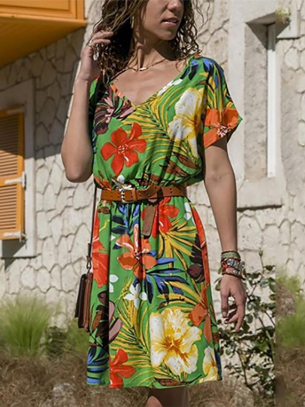 Fashion Printed Short-Sleeved Dress