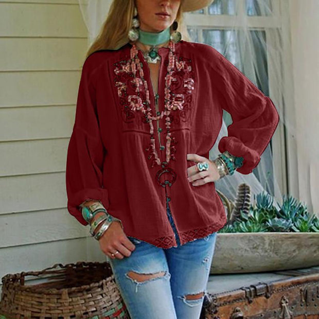 Fashion Printed Long-Sleeved Top